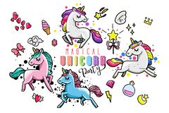 Cute unicorn collection with magic items, rainbow, fairy wings, crystals, clouds, potion. Hand drawn line style royalty free illustration