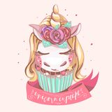 Cute unicorn cupcake. Beautiful, magic background with dreaming unicorn with golden horn, roses flowers, mint color cake, pink r stock image