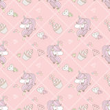 Cute unicorn and cupcake. Seamless pattern in pink Vector Illustration