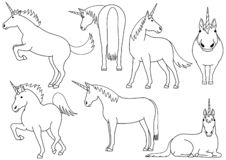 Cute and simple unicorn doodle drawing set. Cute unicorn doodle drawing set, making various poses royalty free illustration