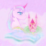 Cute unicorn  and fairy-tale  castle Royalty Free Stock Images