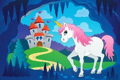 Cute unicorn in fairy tale cave Royalty Free Stock Image