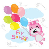 Cute unicorn flies with colorful balloons vector cartoon, Kid postcard, wallpaper, and greeting card Stock Photo