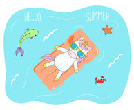 Cute unicorn on a floating mattress. Hand drawn vector illustration of a cute unicorn in sunglasses floating in the sea on inflatable air mattress, with fish Stock Images