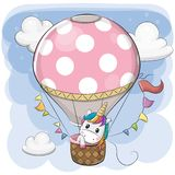 Cute Unicorn is flying on a hot air balloon. Cute Cartoon Unicorn is flying on a hot air balloon stock illustration