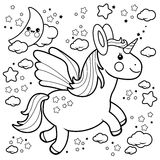 Cute unicorn flying in the night sky. Black and white coloring book page. Vector Illustration of a cute unicorn flying in the night sky with moon, stars and Stock Photography
