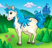 Cute unicorn in forest royalty free illustration