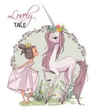 Cute unicorn with girl royalty free illustration