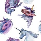 Cute unicorn horse. Rainbow animal horn character. Watercolor background illustration set. Seamless background pattern. Cute unicorn horse. Fairytale children royalty free illustration