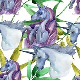 Cute unicorn horse. Rainbow animal horn character. Watercolor background illustration set. Seamless background pattern. Cute unicorn horse. Fairytale children stock illustration