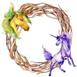 Cute unicorn horse. Watercolor background illustration set. Watercolour frame border ornament square. Cute unicorn horse. Fairytale children sweet dream royalty free illustration