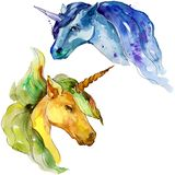 Cute unicorn horse. Watercolor background illustration set. Watercolour drawing fashion aquarelle isolated. Cute unicorn horse. Fairytale children sweet dream stock illustration