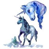 Cute unicorn horse. Watercolor background illustration set. Watercolour drawing isolated unicorn illustration element. Cute unicorn horse. Fairytale children stock illustration