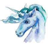 Cute unicorn horse animal horn character. Watercolor background illustration set. Isolated unicorn illustration element. Cute unicorn horse. Fairytale children vector illustration