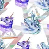 Cute unicorn horse. Fairytale children sweet dream. Watercolor background illustration set. Seamless background pattern. Cute unicorn horse. Fairytale children royalty free stock images