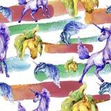 Cute unicorn. Watercolor illustration. Watercolour drawing. Seamless background pattern. Fabric wallpaper print texture. Cute unicorn horse. Fairytale children vector illustration