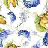 Cute unicorn. Watercolor illustration. Watercolour drawing. Seamless background pattern. Fabric wallpaper print texture. Cute unicorn horse. Fairytale children stock illustration