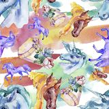Cute unicorn horse. Fairytale children sweet dream. Watercolor background illustration set. Seamless background pattern. Cute unicorn horse. Fairytale children stock photography