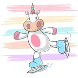 Cute unicorn, ice skate illustration. vector illustration