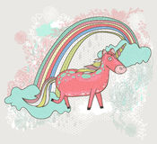 Cute unicorn illustration for children or kids. Doodle floral pa Royalty Free Stock Images