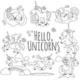 Cute unicorn isolated line icon set, magic pegasus flying with wing and horn on rainbow, fantasy horse vector Stock Photo