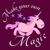 Cute unicorn isolated set, magic pegasus flying with wing and horn on rainbow, fantasy horse vector illustration, myth Royalty Free Stock Image