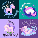 Cute unicorn isolated set, magic pegasus flying with wing and horn on rainbow, fantasy horse vector illustration, myth Stock Images
