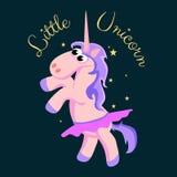 Cute unicorn isolated set, magic pegasus flying with wing and horn on rainbow, fantasy horse vector illustration, myth Stock Photography