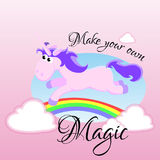 Cute unicorn isolated set, magic pegasus flying with wing and horn on rainbow, fantasy horse vector illustration, myth. Creature dreaming on white background Stock Photos