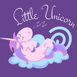 Cute unicorn isolated set, magic pegasus flying with wing and horn on rainbow, fantasy horse vector illustration, myth. Creature dreaming on white background Stock Images