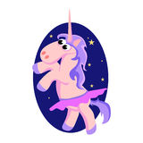Cute unicorn isolated set, magic pegasus flying with wing and horn on rainbow, fantasy horse vector illustration, myth. Creature dreaming on white background Royalty Free Stock Photo