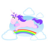 Cute unicorn isolated set, magic pegasus flying with wing and horn on rainbow, fantasy horse vector illustration, myth Royalty Free Stock Photos