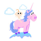 Cute unicorn isolated set, magic pegasus flying with wing and horn. On rainbow, fantasy horse vector illustration, myth creature dreaming on white background Stock Images