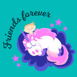 Cute unicorn isolated set, magic pegasus flying with wing and horn. On rainbow, fantasy horse vector illustration, myth creature dreaming on white background Stock Photo