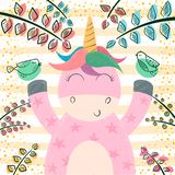 Cute unicorn in the magic forest. stock illustration