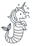 Cute unicorn mermaid coloring page cartoon illustration. Magical creature with unicorn head and body and fish tail. Dreaming, magic, believe in yourself, fairy vector illustration