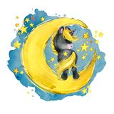 Cute unicorn on the moon. watercolor Night fairytale sky illustration stock illustration