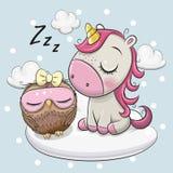 Cute Unicorn and Owl on the Cloud. Cute Cartoon Unicorn and Owl is sleeping a on the Cloud vector illustration