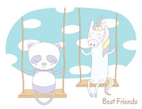 Cute unicorn and panda on a swing Stock Images