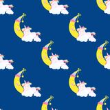 Cute unicorn pattern magic baby vector Stock Images