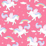Cute unicorn on a pink backgroun. vector pattern Royalty Free Stock Image