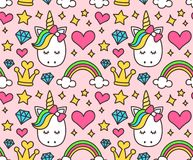 Cute unicorn, princess concept, girl beauty. Seamless pattern isolated on pink background. Vector cartoon design. Magic, fairy tale, heart, rainbow, crown Stock Images
