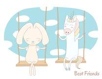 Cute unicorn and rabbit on a swing Stock Photos