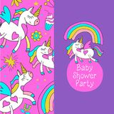 Cute unicorn on the rainbow. Baby shower party. Magical unicorns. Cute design for baby shower. Little unicorns. For registration of a children`s party, baby vector illustration