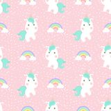 Cute unicorn with rainbow and dot seamless pattern. On pink background Stock Illustration