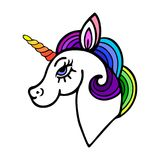 Cute unicorn with rainbow mane. On white background. Vector Stock Photos