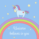 Cute unicorn and rainbow with stars greeting card. Magical unicorn vector illustration poster. royalty free illustration