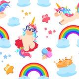 Cute unicorn seamless pattern. Baby pony, rainbow horse. Girl bedroom fairytale vector wallpaper stock illustration
