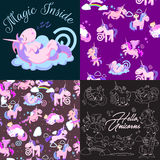 Cute unicorn seamless pattern, magic pegasus flying with wing and horn on rainbow, fantasy horse vector illustration Royalty Free Stock Images