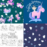 Cute unicorn seamless pattern, magic pegasus flying with wing and horn on rainbow, fantasy horse vector illustration Stock Photo